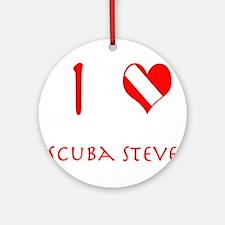 I Love Scuba Steve (red) Ornament (Round)