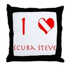 I Love Scuba Steve (red) Throw Pillow