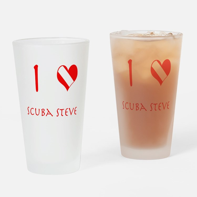 I Love Scuba Steve (red) Drinking Glass