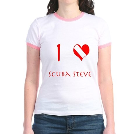 I Love Scuba Steve (red) Jr. Ringer T-Shirt