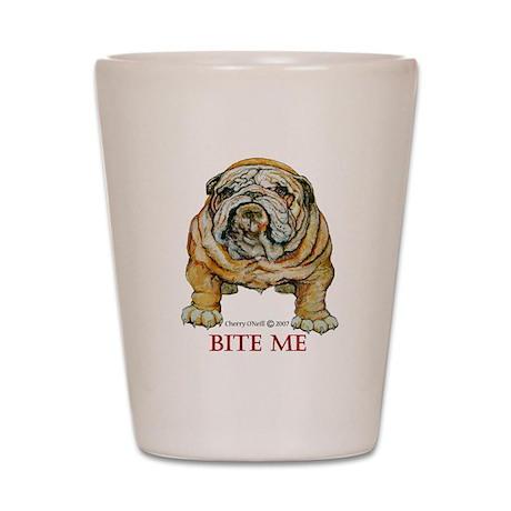 Bulldog Bite Me! Shot Glass