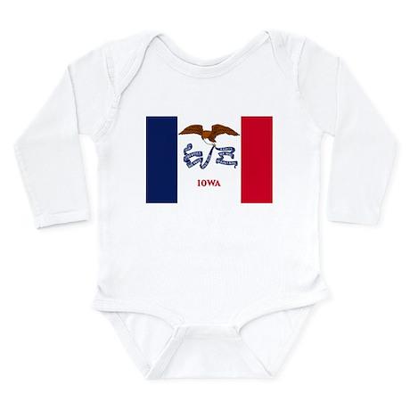 Iowa State Flag Long Sleeve Infant Bodysuit
