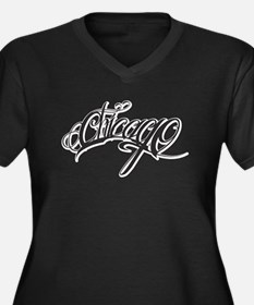 Chicago ink Women's Plus Size V-Neck Dark T-Shirt