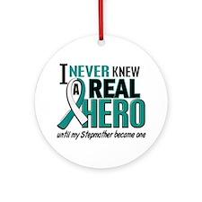 Never Knew a Hero 2 Cervical Cancer Ornament (Roun