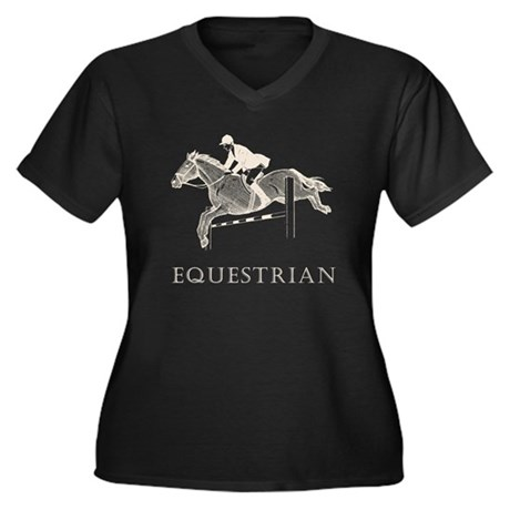 Retro Equestrian Women's Plus Size V-Neck Dark T-S