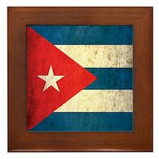 Grunge Cuba Flag Framed Tile