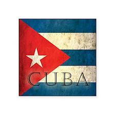 "Grunge Cuba Flag Square Sticker 3"" x 3"""