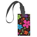 Music Flowered Large Luggage Tag