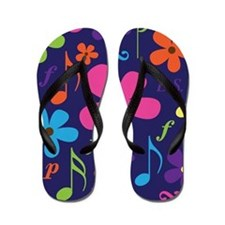 Music Flowered Flip Flops