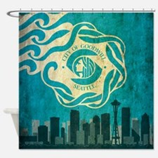 Vintage Seattle Skyline Shower Curtain