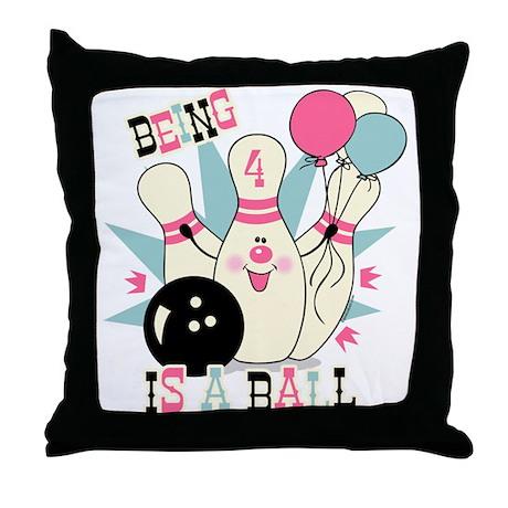 Pink Bowling Pin 4th Birthday Throw Pillow