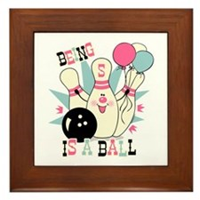 Pink Bowling Pin 5th Birthday Framed Tile