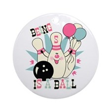 Pink Bowling Pin 5th Birthday Ornament (Round)