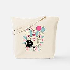 Pink Bowling Pin 5th Birthday Tote Bag
