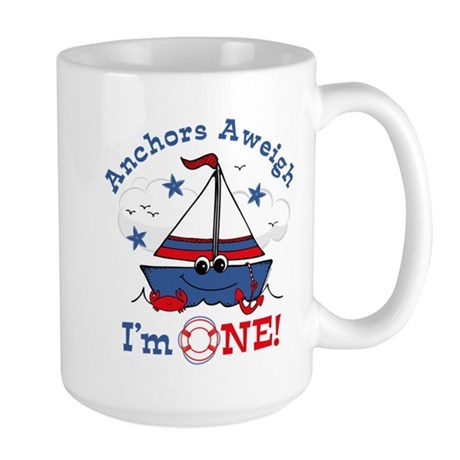 Little Sailboat 1st Birthday Large Mug
