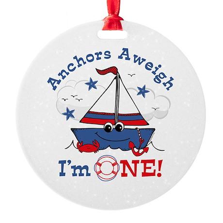 Little Sailboat 1st Birthday Round Ornament