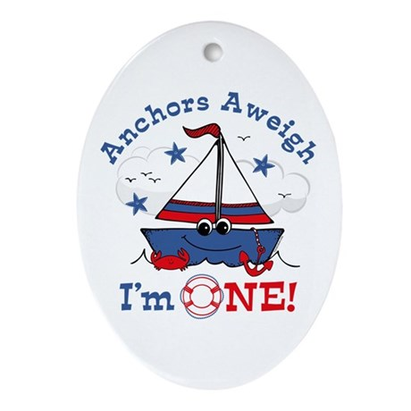Little Sailboat 1st Birthday Ornament (Oval)