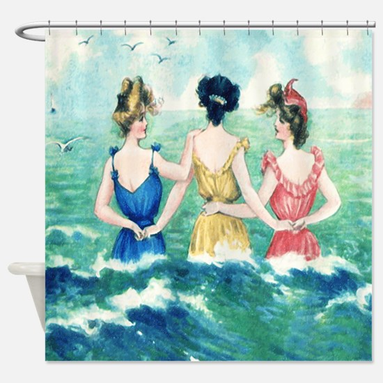 Vintage Victorian Women Seashore Shower Curtain