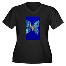 Glitter Butterfly Women's Plus Size V-Neck Dark T-