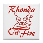 Rhonda On Fire Tile Coaster