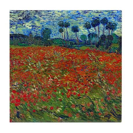 Van Gogh - Poppy Field Tile Coaster