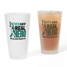 Never Knew a Hero 2 Cervical Cancer Drinking Glass