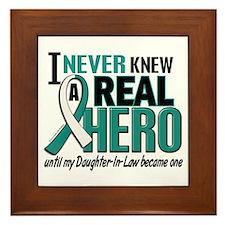 Never Knew a Hero 2 Cervical Cancer Framed Tile