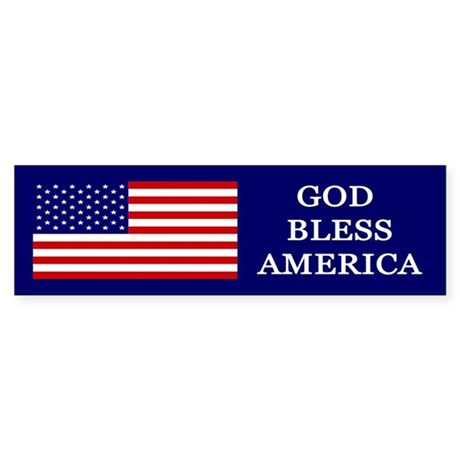 God Bless America Blue Sticker (Bumper)