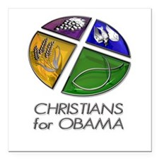 "Christians for Obama Square Car Magnet 3"" x 3"""