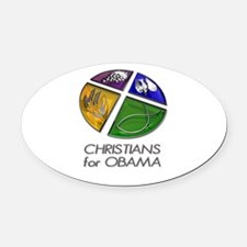 Christians for Obama Oval Car Magnet