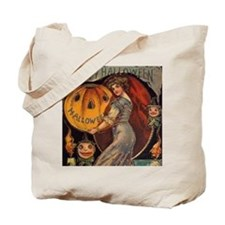 Vintage Halloween Card sq Tote Bag