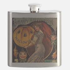 Vintage Halloween Card sq Flask