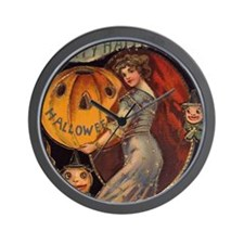 Vintage Halloween Card sq Wall Clock