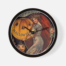 Vintage Halloween Card sq Wall Clock
