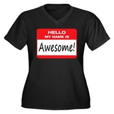 Awesome Name Tag Women's Plus Size V-Neck Dark T-S