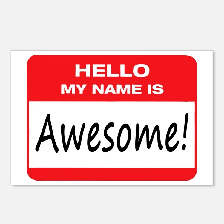 Name Tag Master Post: Hello My Name Is Awesome Postcards