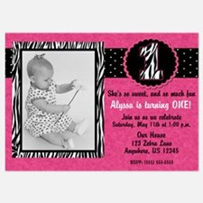 1st Birthday Pink Zebra Invitation Invitations