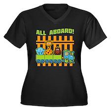 All Aboard! Women's Plus Size V-Neck Dark T-Shirt