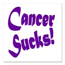 "Cancer Sucks Purple! Square Car Magnet 3"" x 3"