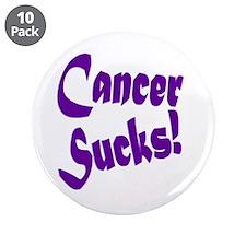 """Cancer Sucks Purple! 3.5"""" Button (10 pack)"""
