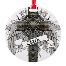 Clark Tartan Cross Round Ornament