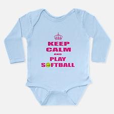 Girls Softball Long Sleeve Infant Bodysuit