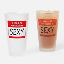 Sexy Name Tag Drinking Glass