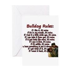 Bulldog Rules red Greeting Card