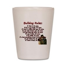Bulldog Rules red Shot Glass