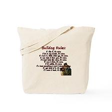 Bulldog Rules red Tote Bag