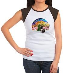 XMusic2-FrenchBulldog-br Women's Cap Sleeve T-Shir