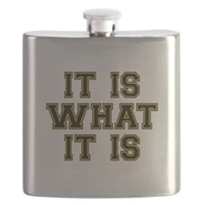 It Is What It Is Black and Gold Flask