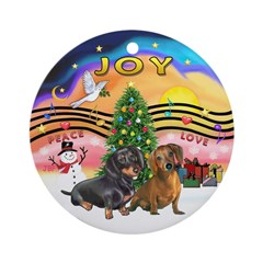 XMusic2-Two Dachshunds Ornament (Round)