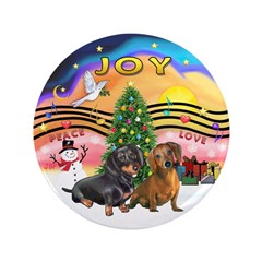 """XMusic2-Two Dachshunds 3.5"""" Button (100 pack)"""